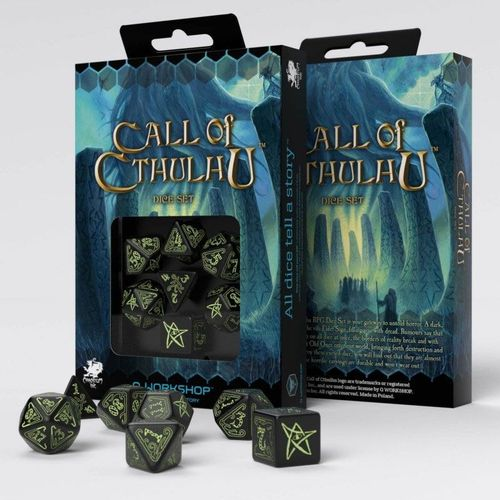 Call of Cthulhu Würfel Set: schwarz & glow-in-the-dark (7)